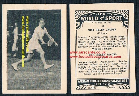 1930's South African Tobacco Cape Town World of Sport Helen Jacobs 17 tennis card